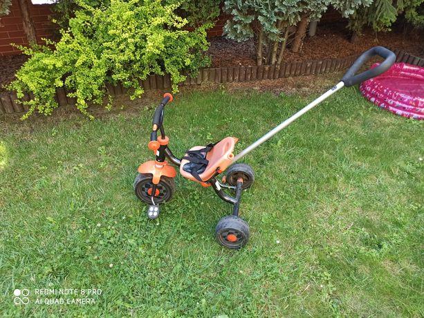 Rower dzieciecy rowerek trójkołowiec z tyczka