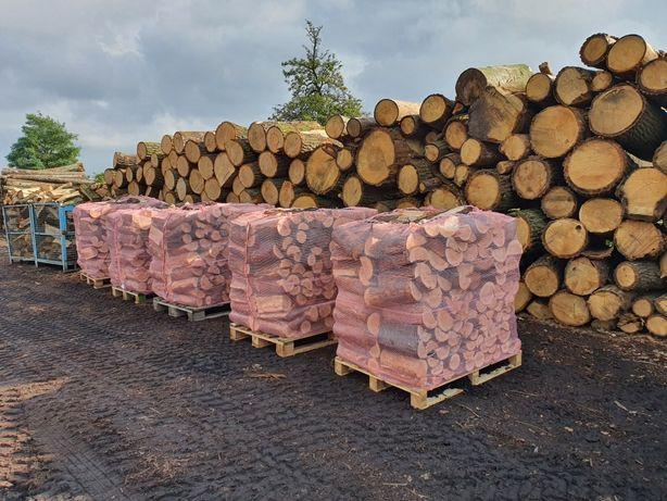 Drewno kominkowe sezonowane opałowe dąb paleta