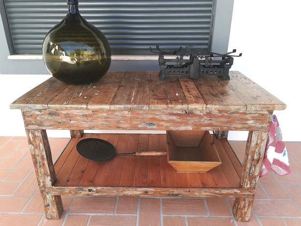 Ilha de cozinha rustica - Bancada industrial restaurada