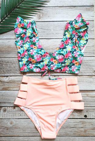 Kostium z falbankami kwiaty flamingi wysoki stan M