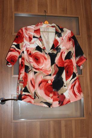 Duży rozmiar elegancki żakiet jak nowy w modne kwiaty