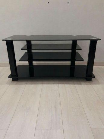 Стол под ТВ стеклянный черный