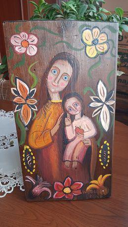 Matka Boska obraz na desce Eugeniusz Węgiełek