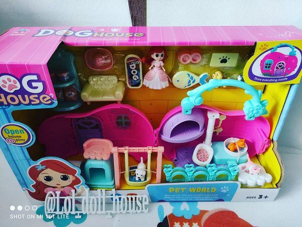 Домик с игровой площадкой принцессой и питомцами