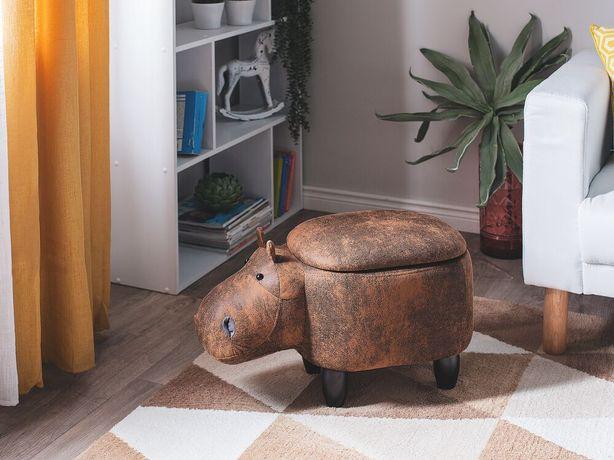 Tamborete em pele sintética castanho claro HIPPO - Beliani