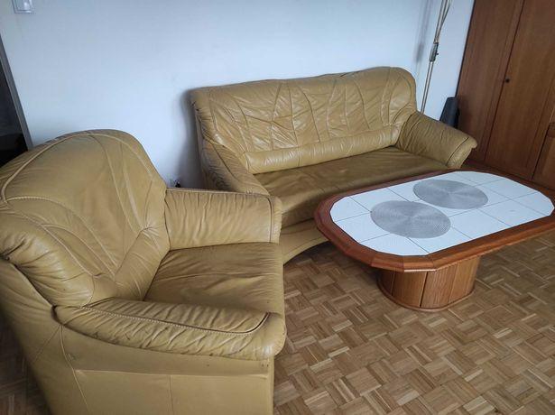 Skórzana i rozkładana sofa z fotelem