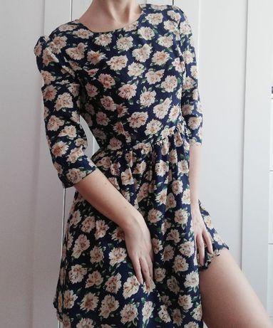 Sukienka BooHoo kwiaty granatowa M L vintage