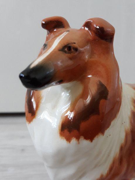 Porcelana Figurka, Pies Psy Collie owczarek szkocki