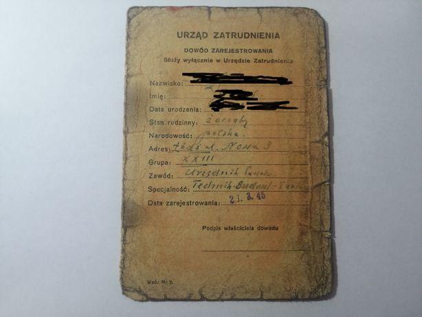 Karta zatrudnienia Urząd Zatrudnienia Łódź 1945 rok