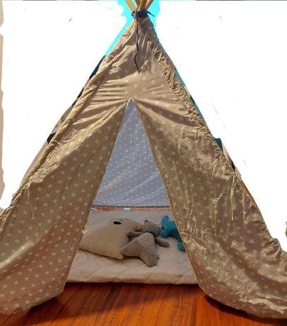 Namiot dzieciecy Tipi szary w biale gwiazdki