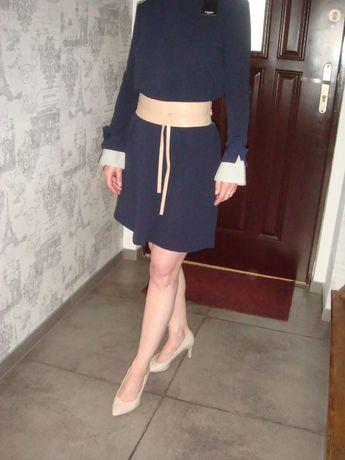 MANGO/ Nowa, granatowa sukienka z ozdobnymi mankietami