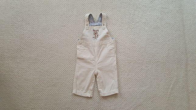 Spodnie niemowlęce sztruksowe ogrodniczki kremowe, r. 68