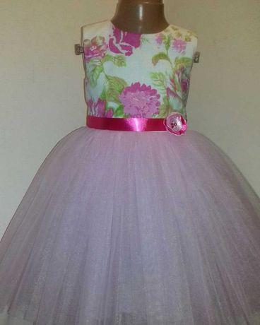 Платье нарядное для девочки. Святкова сукня. Платье в цветы, фатин