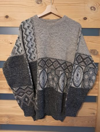 Westbury szary sweter vintage geometryczny