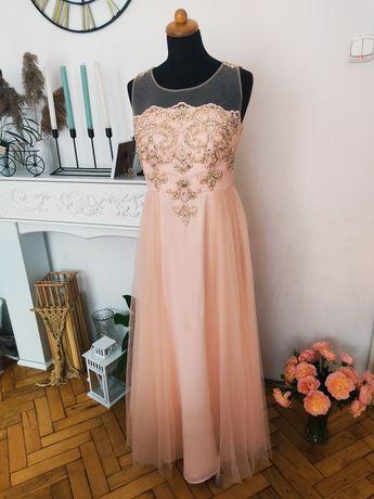 Suknia sukienka długa wesele nowa M morelowy brzoskwiniowy