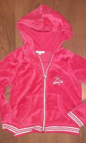 Bluza welurowa dla dziewczynki - różowa