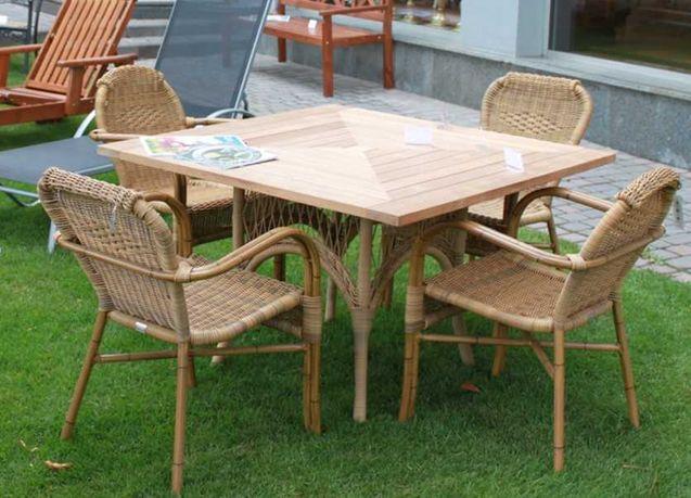 Садовый комплект обеденный стол из тикового дерева и стулья из ротанга