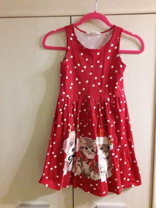 H&M 134/140 świąteczną sukienka Mikołaj Wągrowiec - image 1