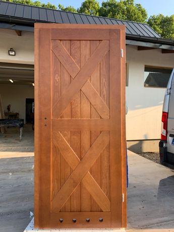 OD RĘKI drzwi łazienkowe 88x205cm drewniane sosnowe