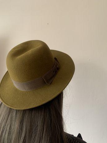 Kapelusz damski wełniany oliwkowy khaki brązowy