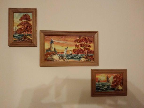Komplet 3 obrazków z bursztynowymi elementami