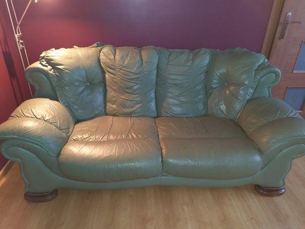 Sofa skóra naturalna zestaw 2 szt