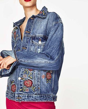 Джинсовая куртка оверсайз с вышивкой Zara. Оригинал