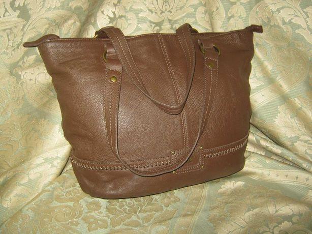 Коричневая большая кожаная сумка женская натуральная кожа