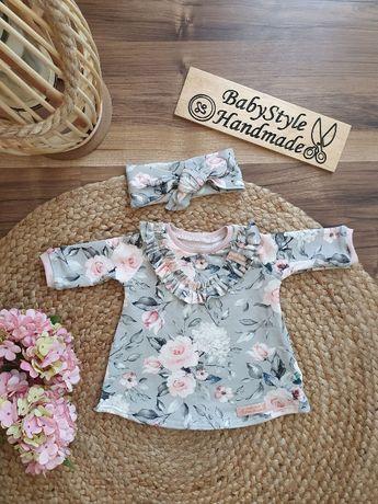 Sukienka długi rekaw + opaska PIN UP - HANDMADE dla dziecka Babystyle