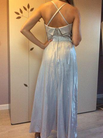 Sukienka z szara połyskująca tafta XS 34 długa srebrna