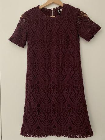 Sukienka damska H&M 34 XS koronka bordo burgund krótki rękaw