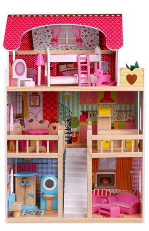 """Domek duży dla lalek + gratis meble ,,Malinowa rezydencja"""" drewniany"""