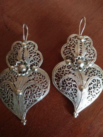 Brincos em prata coração Viana/Gondomar