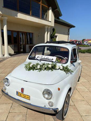Auto samochód zabytek Fiat 500 maluch do ślubu