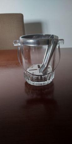 Balde de gelo em vidro com pinça