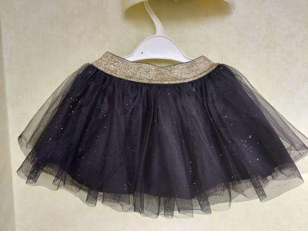 Шикарная фатиновая чёрная юбка на девочку 80-86