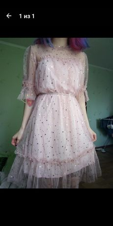 Розовое платье в звёздах нежное свободное корейское платье сетка