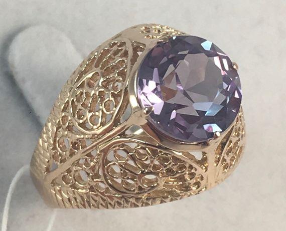 Кольцо золотое александрит 583 проба, советское, а644
