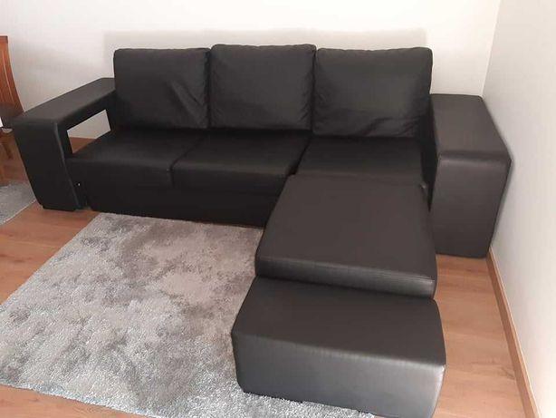 Sofa em pele sintetica com chaise longue