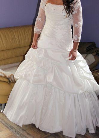 Suknia ślubna ecru drapowana JEDYNA TAKA r. 38-40