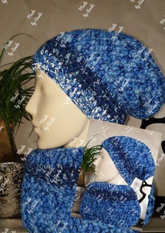 KOMPLET odblask czapka z kominem - handmade