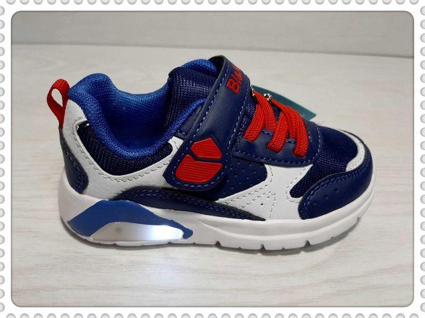 Великолепного качества светящиеся кроссовки  BI&KI р.21-26 синие