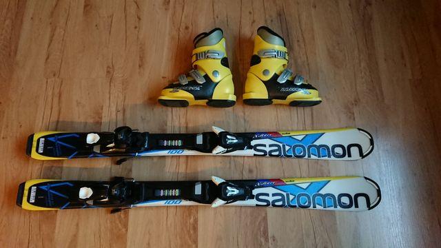 Narty jak NOWE 100cm Salomon X Race + wiązania EZYTrace