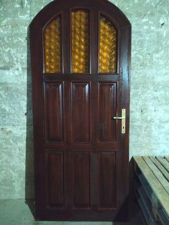 Drzwi zewnętrzne, drewniane,wejściowe, łukowe