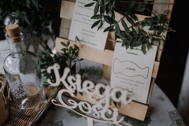 Drewniany stojak na listę gości list w butelce ślub wesele rustykalne