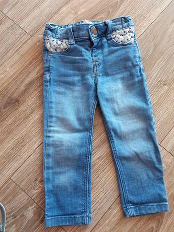 Spodnie jeansy, jeansowe f&f 80, koronka, dżinsy