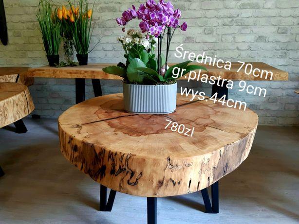Stolik kawowy 70cm, plaster drewna,  po suszarni.  ława