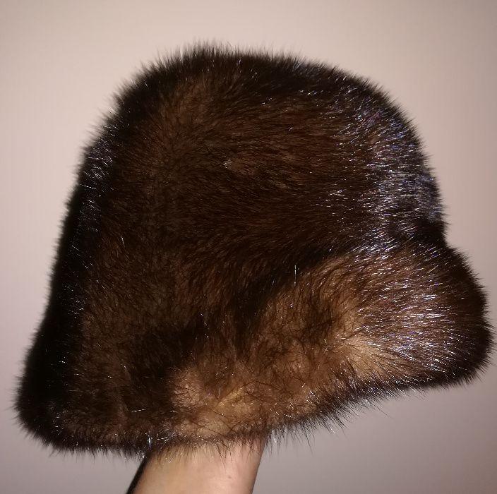 Ciepła czapeczka z prawdziwych brązowych norek Gdańsk - image 1