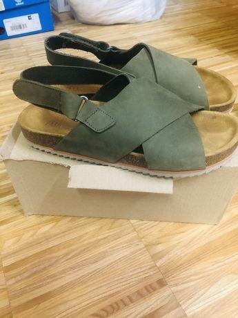 Sandały ZARA 38 skora Khaki jak nowe