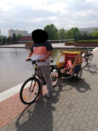 Przyczepka rowerowa dwuosobowa duża wygodna.